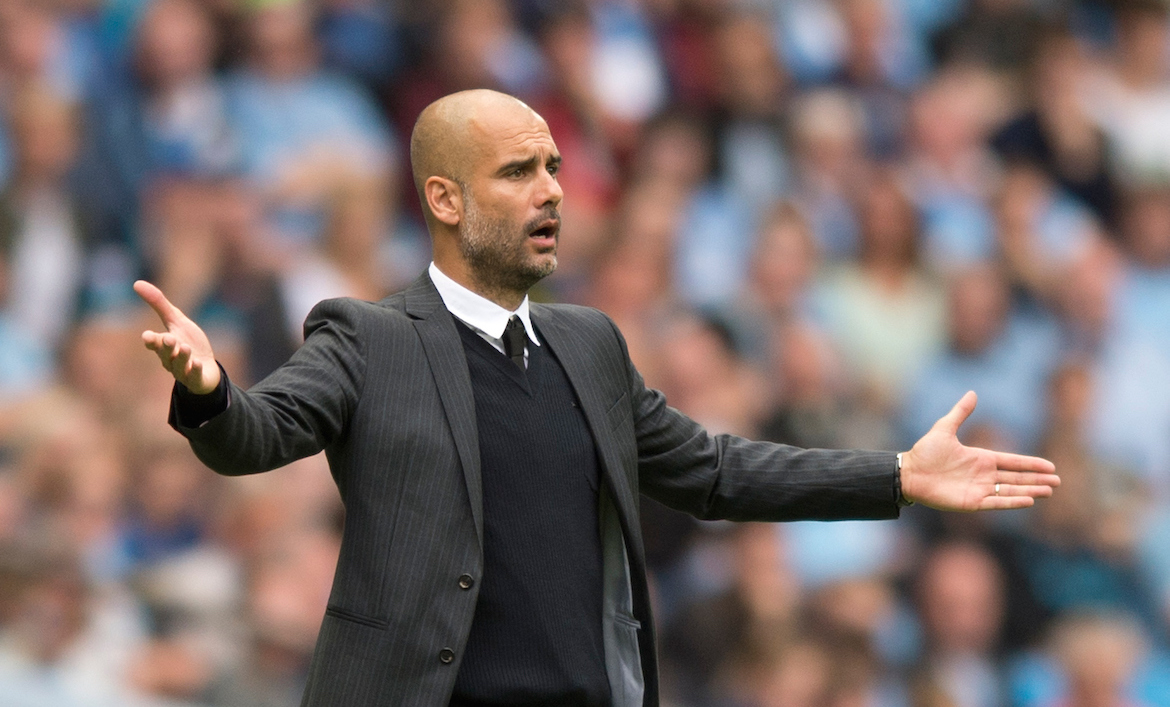 Manchester City manager Pep Guardiola questions a decision by referee Andre Marriner during the Premier League match at the Etihad Stadium, Manchester Picture by Russell Hart/Focus Images Ltd 07791 688 420 28/08/2016