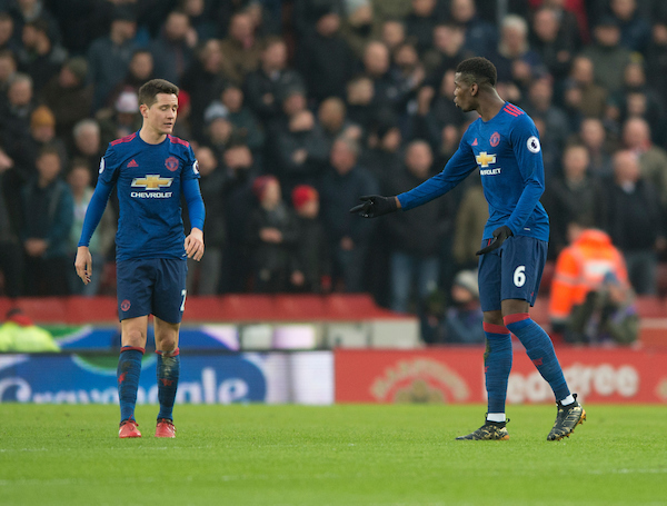 Ander Herrera (left) and Paul Pogba of Manchester United have a discussion after their team go 1-0 down during the Premier League match at the Bet 365 Stadium, Stoke-on-Trent Picture by Russell Hart/Focus Images Ltd 07791 688 420 21/01/2017