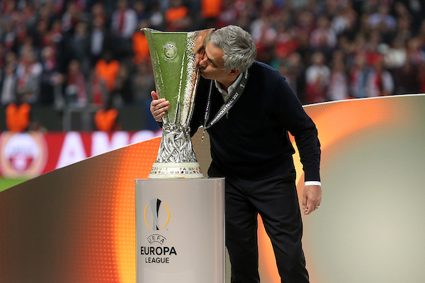 Manchester United Manager Jose Mourinho kisses the trophy at the end of the UEFA Europa League match at Friends Arena, Stockholm Picture by Paul Chesterton/Focus Images Ltd +44 7904 640267 24/05/2017