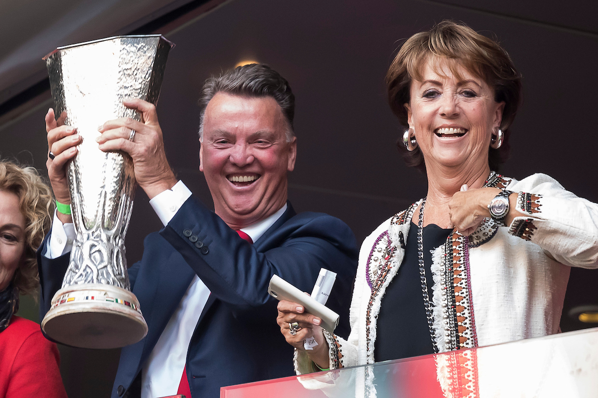 Louis van Gaal (L) former Ajax coach and his wife Truus (R) during the first leg of the UEFA Europa League semi-final at Amsterdam Arena, Amsterdam Picture by Joep Joseph Leenen/Focus Images Ltd +316 5261929 03/05/2017 ***NETHERLANDS OUT***