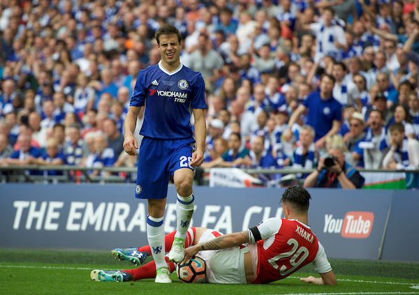 Granit Xhaka of Arsenal is brought down by Cesar Azpilicueta of Chelsea during the FA Cup Final at Wembley Stadium, London. Picture by Alan Stanford/Focus Images Ltd +44 7915 056117 27/05/2017