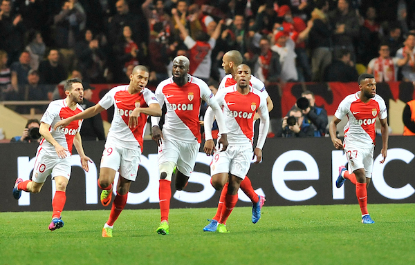 Kylian Mbappe of AS Monaco FC celebrates scoring their first goal against Manchester City during the UEFA Champions League match at Stade Louis II, Monaco Picture by Stefano Gnech/Focus Images Ltd +39 333 1641678 15/03/2017