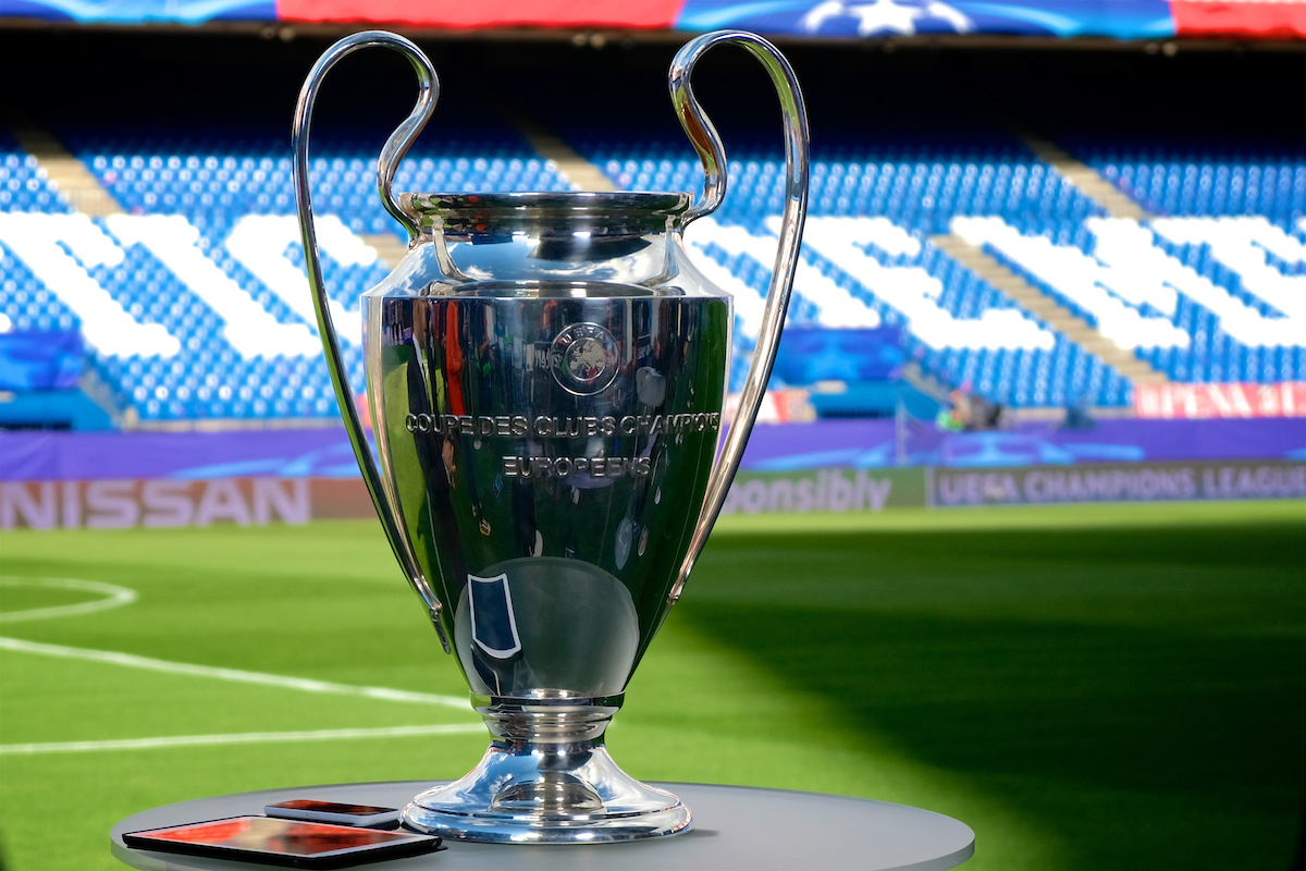 General view of the stadium showing the Champions League trophy on display pictured ahead of the second leg of the UEFA Champions League semi-final at Vicente Calderon Stadium, Madrid Picture by Kristian Kane/Focus Images Ltd +44 7814 482222 10/05/2017
