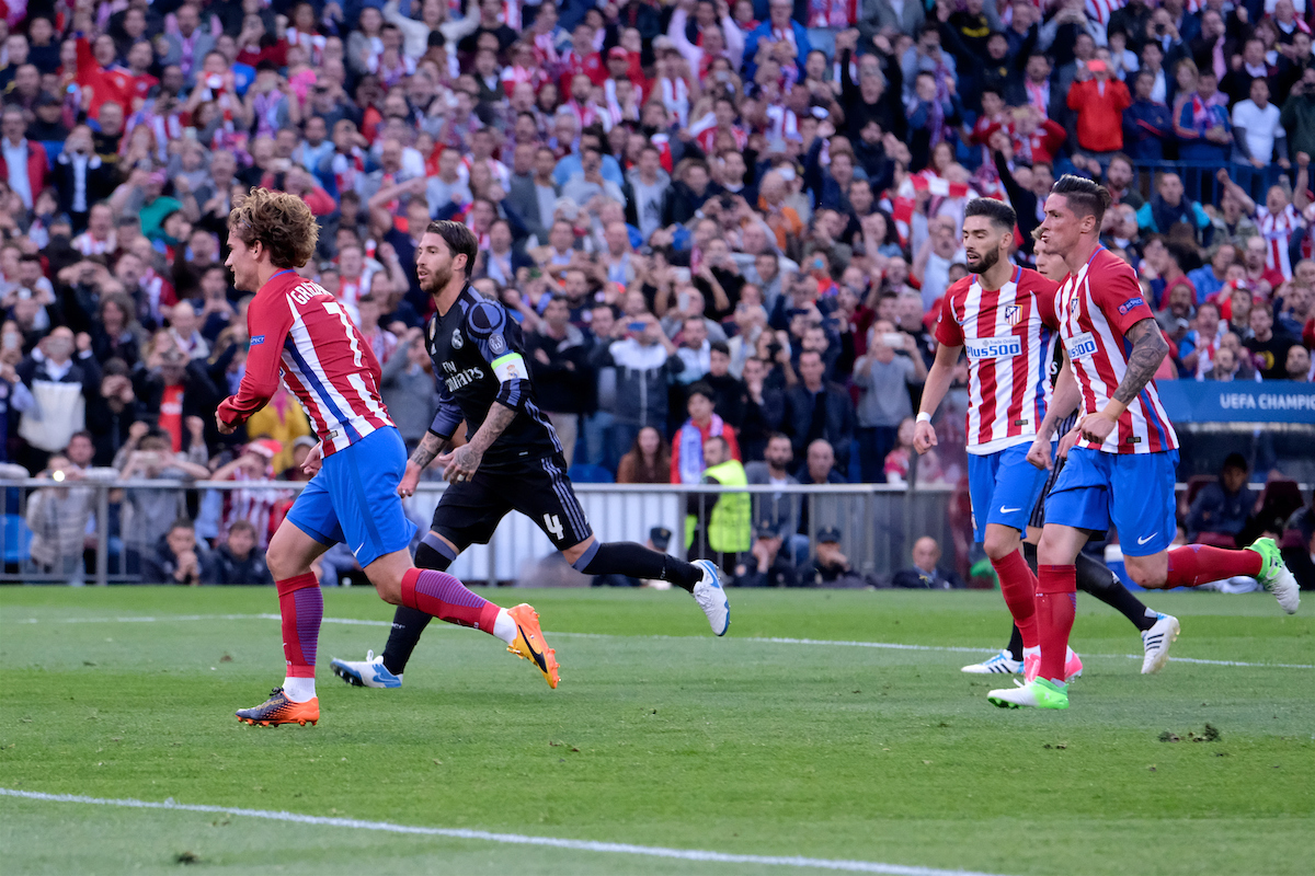 Antoine Griezmann of Atletico Madrid scores their second goal from the penalty spot to make it Atletico Madrid 2 Real Madrid 0 during the second leg of the UEFA Champions League semi-final at Vicente Calderon Stadium, Madrid Picture by Kristian Kane/Focus Images Ltd +44 7814 482222 10/05/2017