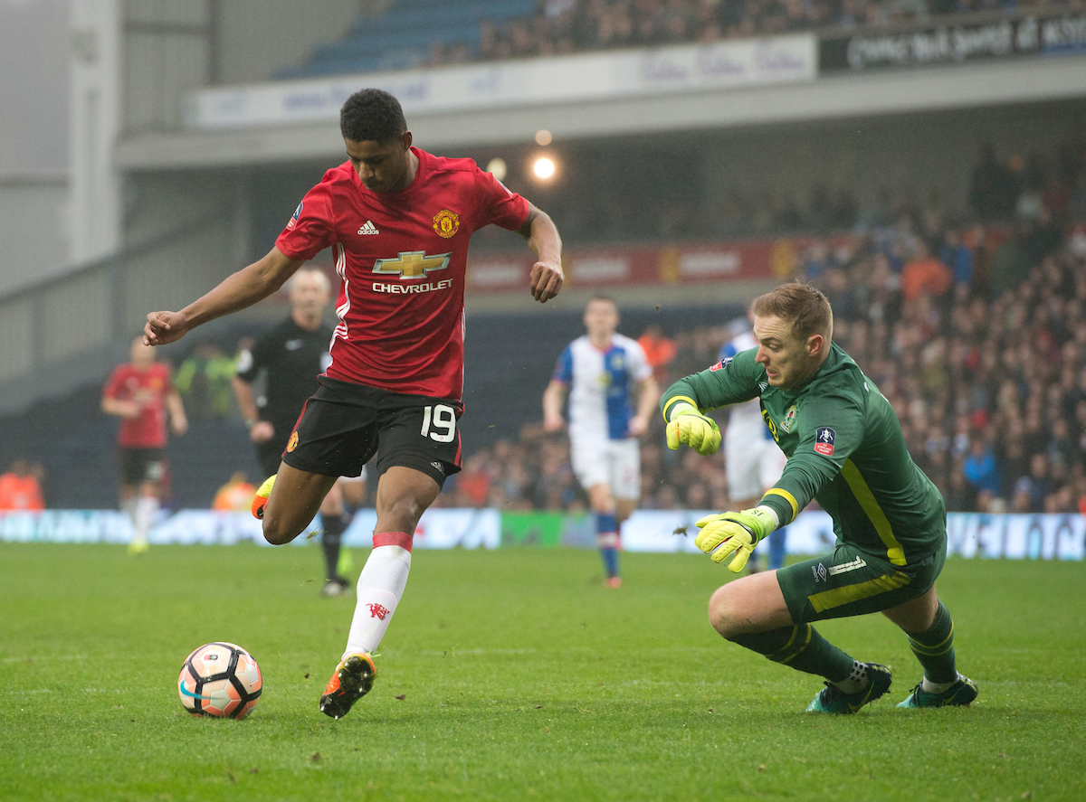 Marcus Rashford of Manchester United scores his team's equalising goal to make it 1-1 during the FA Cup match at Ewood Park, Blackburn Picture by Russell Hart/Focus Images Ltd 07791 688 420 19/02/2017