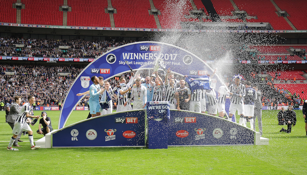 Millwall players celebrate after winning the Sky Bet League 1 play-off final at Wembley Stadium, London Picture by Glenn Sparkes/Focus Images Ltd 07939664067 20/05/2017