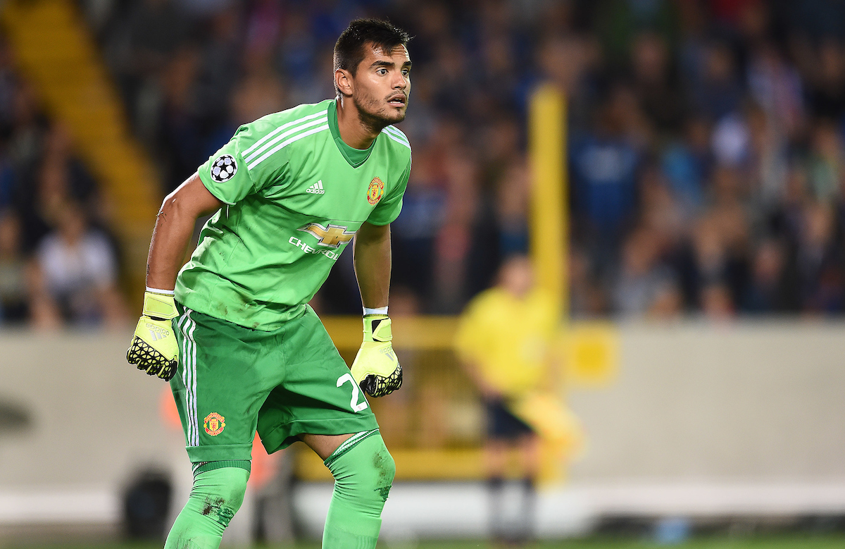 Sergio Romero of Manchester United during the UEFA Champions League match against Club Brugge at Jan Breydel Stadium, Sint-Andries Picture by Andrew Timms/Focus Images Ltd +44 7917 236526 26/08/2015