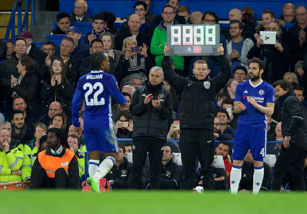 Manager Jose Mourinho of Manchester United applauds Willian of Chelsea as he is substituted for Cesc Fabregas of Chelsea during the quarter-final of the FA Cup at Stamford Bridge, London Picture by Alan Stanford/Focus Images Ltd +44 7915 056117 13/03/2017