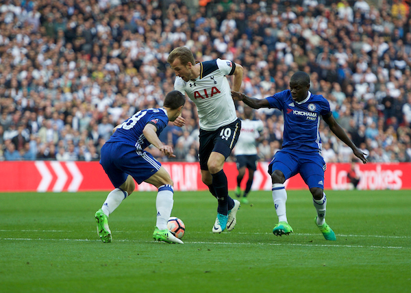 Harry Kane of Tottenham Hotspur tries to get through Cesar Azpilicueta of Chelsea (left) and Ngolo Kante of Chelsea during the FA Cup semi-final match at Wembley Stadium, London Picture by Alan Stanford/Focus Images Ltd +44 7915 056117 22/04/2017