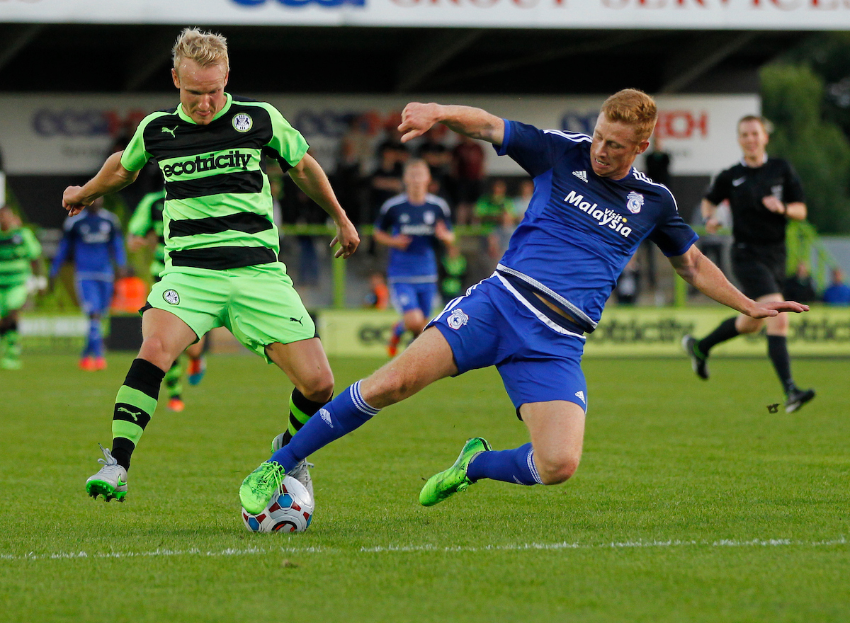 x of Forest Green Rovers and Eoin Doyle of Cardiff City during the pre season friendly match at the New Lawn, Nailsworth Picture by Mike Griffiths/Focus Images Ltd +44 7766 223933 15/07/2015