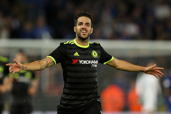 Cesc Fabregas of Chelsea celebrates scoring their fourth goal during the EFL Cup match at the King Power Stadium, Leicester Picture by Andy Kearns/Focus Images Ltd 0781 864 4264 20/09/2016