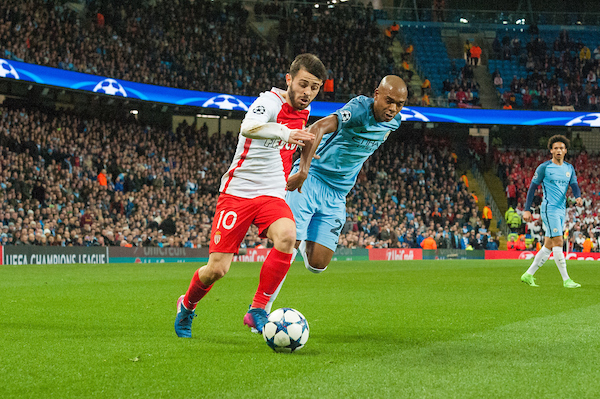 Bernardo Silva of Monaco finds a way past Fernandinho of Manchester City during the UEFA Champions League match at the Etihad Stadium, Manchester Picture by Matt Wilkinson/Focus Images Ltd 07814 960751 21/02/2017