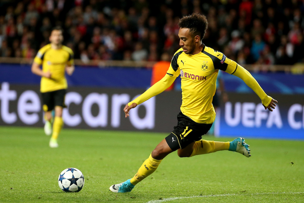 Pierre-Emerick Aubameyang of Borussia Dortmund during the UEFA Champions League match at Stade Louis II, Monaco Picture by EXPA Pictures/Focus Images Ltd 07814482222 19/04/2017 *** UK & IRELAND ONLY *** EXPA-EIB-170420-0084.jpg