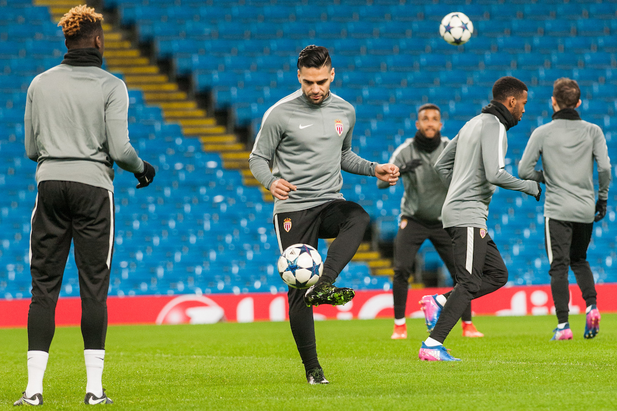 Radamel Falcao of AS Monaco (centre) during training at the Etihad Stadium, Manchester Picture by Matt Wilkinson/Focus Images Ltd 07814 960751 20/02/2017