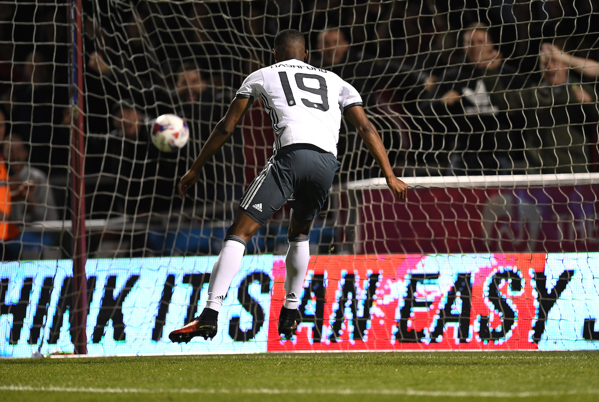 Marcus Rashford of Manchester United scoring their third goal during the EFL Cup match against Northampton Town at Sixfields Stadium, Northampton Picture by Andrew Timms/Focus Images Ltd +44 7917 236526 21/09/2016