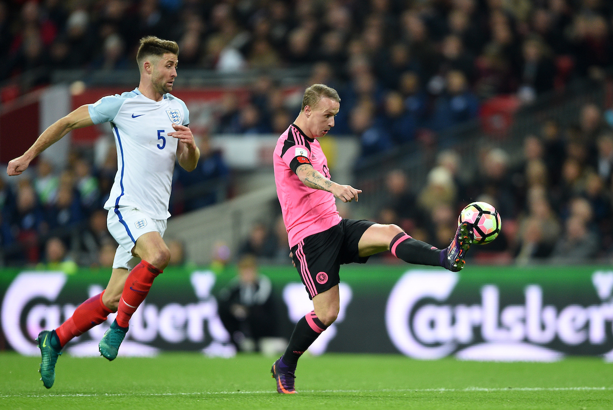 Gary Cahill of England and Leigh Griffiths of Scotland during the 2018 FIFA World Cup Qualifying match at Wembley Stadium, London Picture by Daniel Hambury/Focus Images Ltd +44 7813 022858 11/11/2016