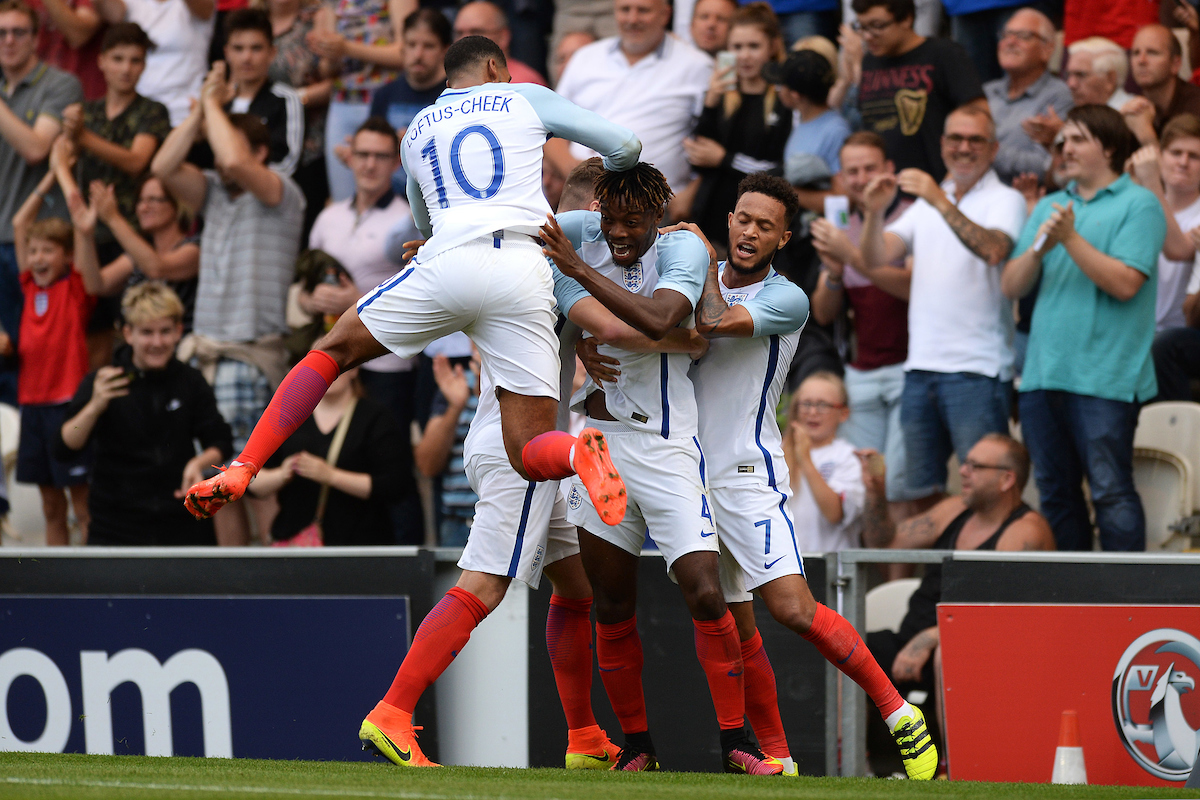 Nathaniel Chalobah of England (middle) celebrates scoring his sides second goal to make the scoreline 2-0 during the UEFA Euro U21 2017 Qualifiers match between England U21 and Norway U21 at the Weston Homes Community Stadium, Colchester Picture by Richard Blaxall/Focus Images Ltd +44 7853 364624 06/09/2016
