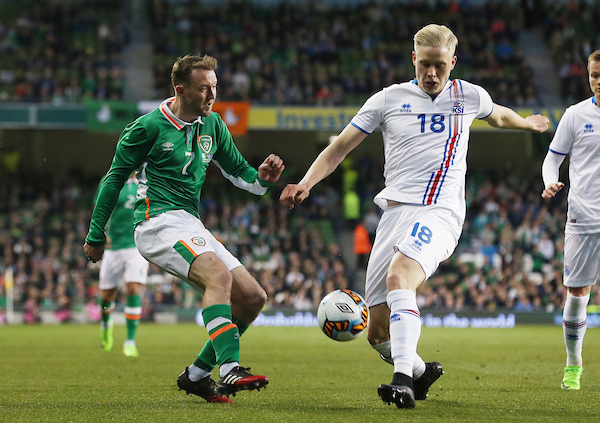 Aidan McGeady of Republic of Ireland and Hordur Bjorgvin Magnusson of Iceland during the International Friendly match at the Aviva Stadium, Dublin Picture by Lorraine O'Sullivan/Focus Images Ltd +353 872341584 28/03/2017