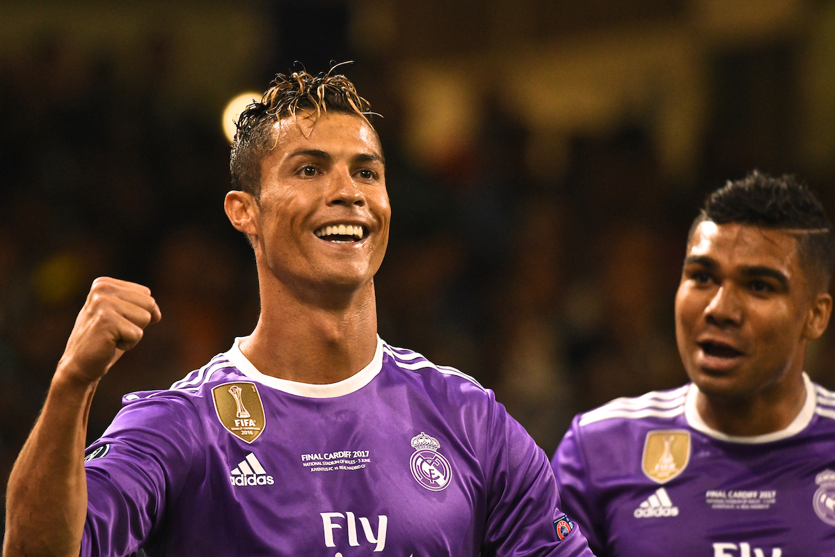 Cristiano Ronaldo of Real Madrid celebrates scoring their first goal to make it Real Madrid 1 Juventus 0 during the UEFA Champions League Final at the Principality Stadium, Cardiff Picture by Kristian Kane/Focus Images Ltd +44 7814 482222 03/06/2017