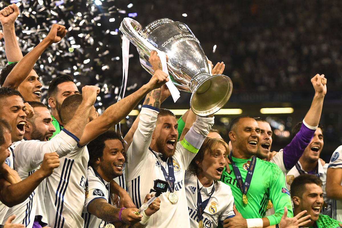 Sergio Ramos of Real Madrid lifts the trophy following the UEFA Champions League Final at the Principality Stadium, Cardiff Picture by Kristian Kane/Focus Images Ltd +44 7814 482222 03/06/2017