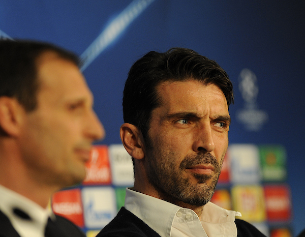 Juventus coach Massimiliano Allegri (left) and goal keeper, Gianluigi Buffon, during a press conference at Allianz Arena, Munich Picture by Stefano Gnech/Focus Images Ltd +39 333 1641678 15/03/2016