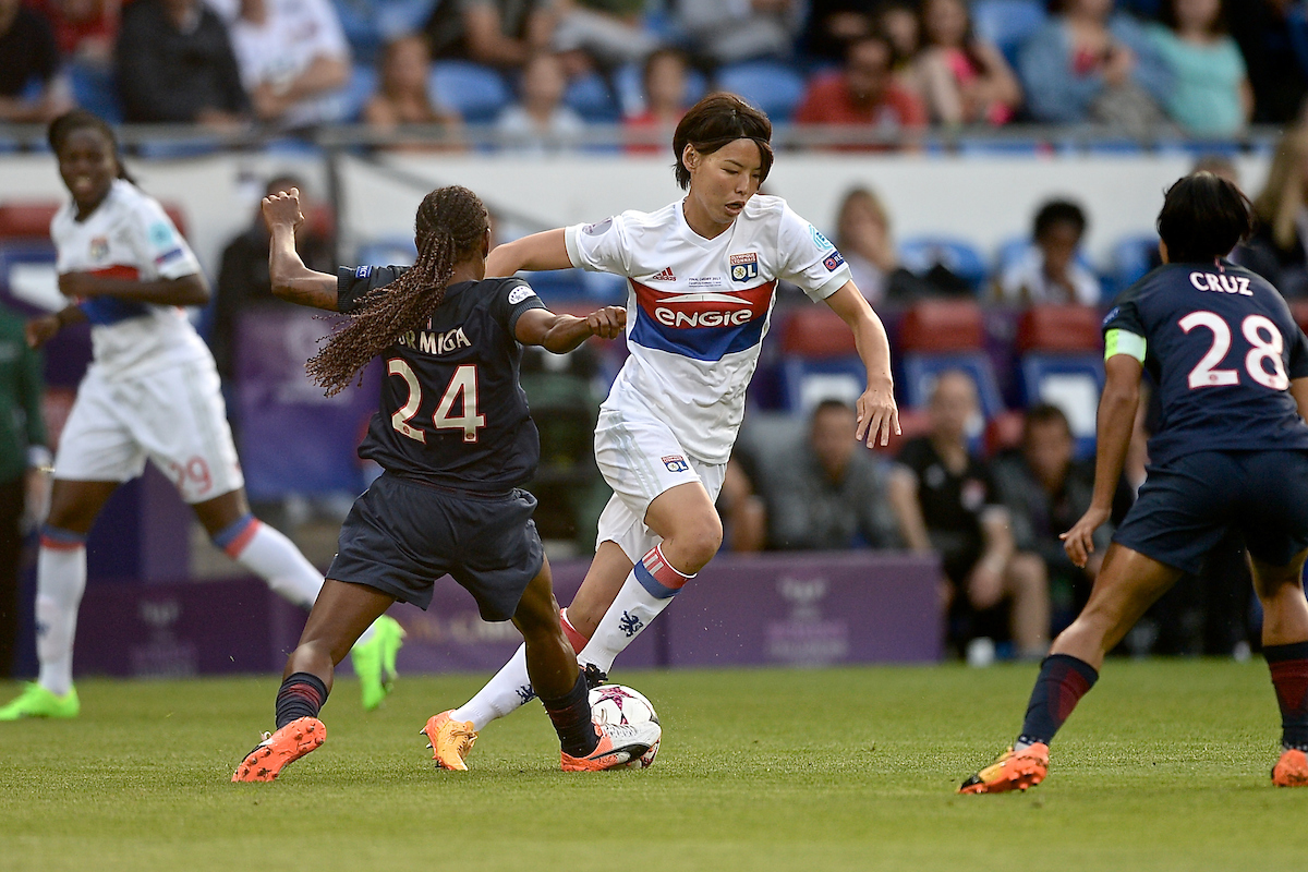 Saki Kumagai of Olympique Lyonnais Féminin is tackled by Formiga of Paris Saint-Germain Féminines during the UEFA Women's Champions League Final at the Cardiff City Stadium, Cardiff Picture by Kristian Kane/Focus Images Ltd +44 7814 482222 01/06/2017