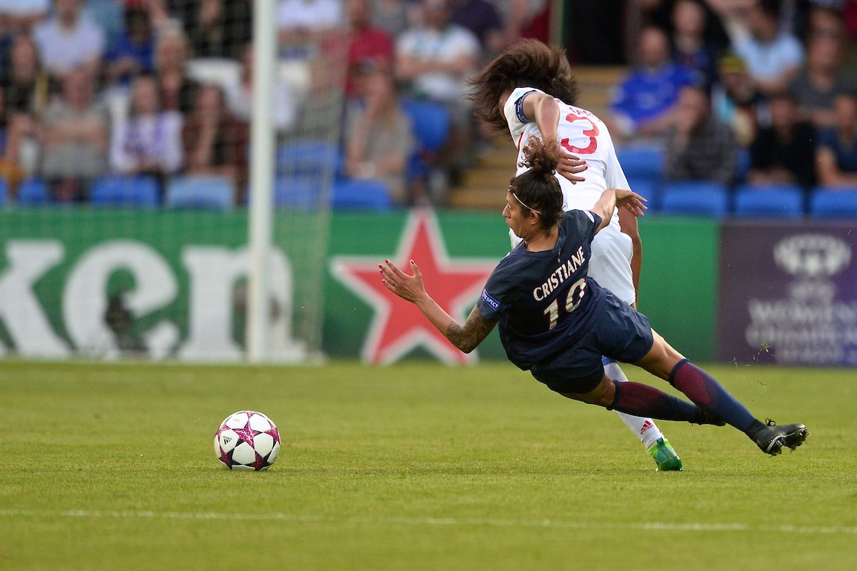 Cristiane of Paris Saint-Germain Féminines (right) is fouled by Wendie Renard (captain) of Olympique Lyonnais Féminin during the UEFA Women's Champions League Final at the Cardiff City Stadium, Cardiff Picture by Kristian Kane/Focus Images Ltd +44 7814 482222 01/06/2017