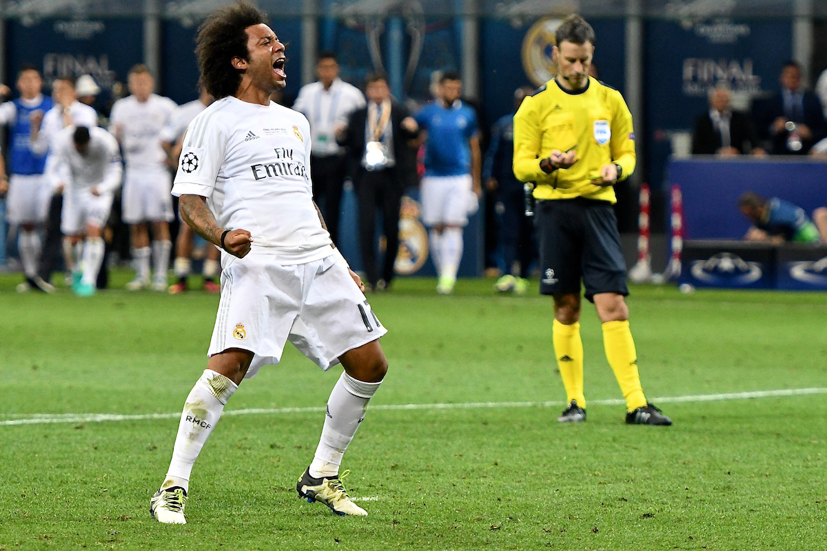 Marcelo celebrates after scoring in the penalty shootout during the UEFA Champions League Final at San Siro, Milan, Italy. Picture by Kristian Kane/Focus Images Ltd 07814482222 28/05/2016