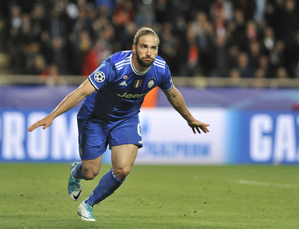 Gonzalo Higuain of Juventus celebrates scoring their second goal during the UEFA Champions League match at Stade Louis II, Monaco Picture by Stefano Gnech/Focus Images Ltd +39 333 1641678 03/05/2017