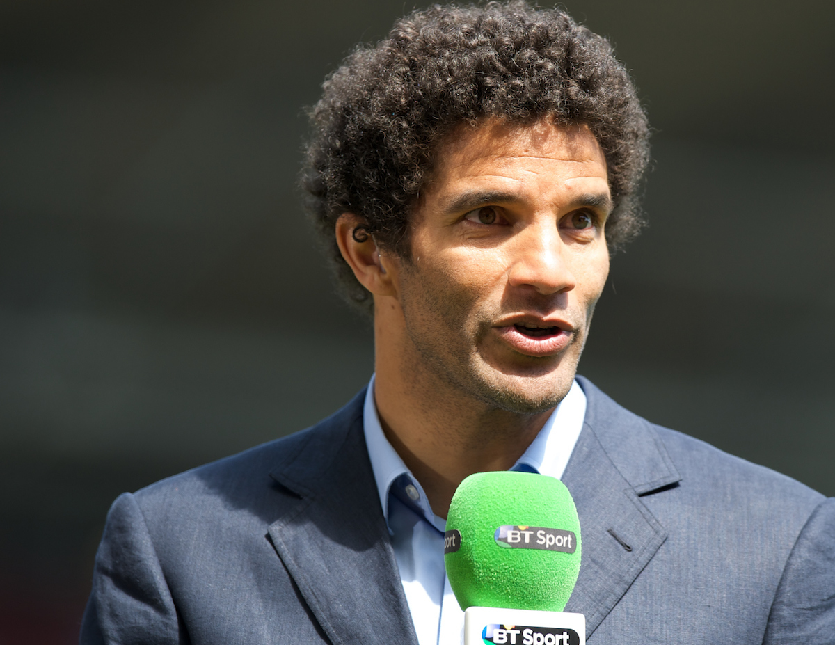 Former goalkeeper David James commentating before the Barclays Premier League match at the Boleyn Ground, London Picture by Alan Stanford/Focus Images Ltd +44 7915 056117 03/05/2014