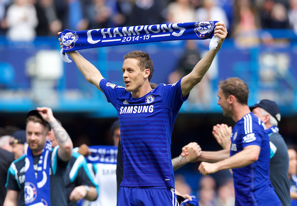Nemanja Matic of Chelsea celebrates winning the premiership title after their 1-0 win over Crystal Palace in the Barclays Premier League match at Stamford Bridge, London Picture by Alan Stanford/Focus Images Ltd +44 7915 056117 03/05/2015