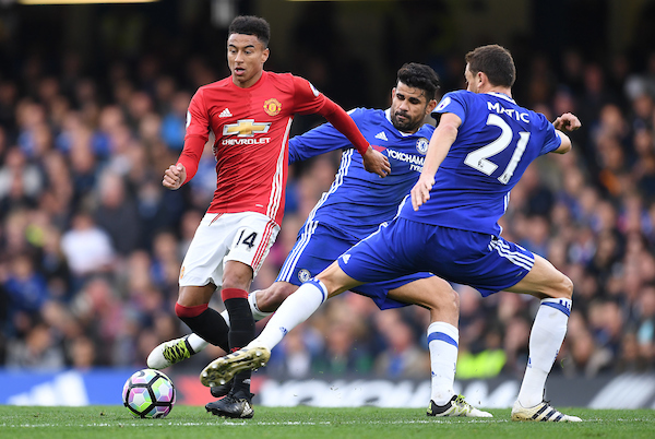 Nemanja Matic and Diego Costa of Chelsea and Jesse Lingard of Manchester United during the Premier League match at Stamford Bridge, London Picture by Andrew Timms/Focus Images Ltd +44 7917 236526 23/10/2016