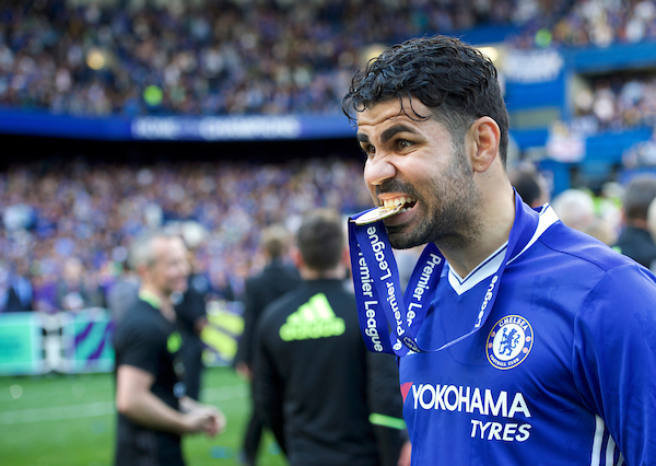 Diego Costa of Chelsea with his Premier League winners medal after the Premier League match at Stamford Bridge, London Picture by Alan Stanford/Focus Images Ltd +44 7915 056117 21/05/2017