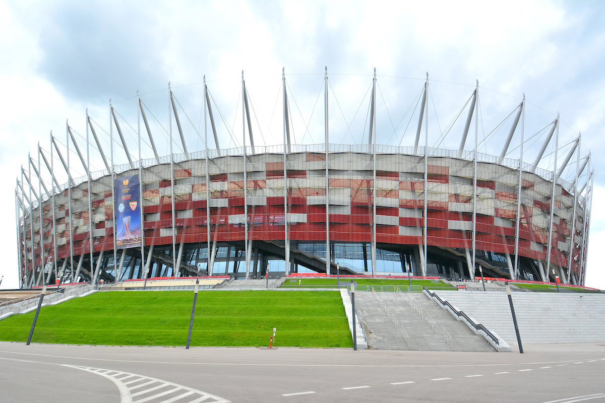 A general view of the exterior of the stadium prior to the start of the UEFA Europa League final at the National Stadium, Warsaw Picture by Greg Kwasnik/Focus Images Ltd +44 7902 021456 27/05/2015