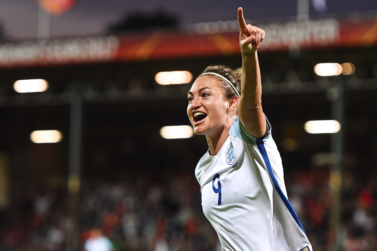 Jodie Taylor of England celebrates scoring their first goal to make it England 1 France 0 during the UEFA Women's Euros 2017 quarter-final match at De Adelaarshorst, Deventer Picture by Kristian Kane/Focus Images Ltd +44 7814 482222 30/07/2017