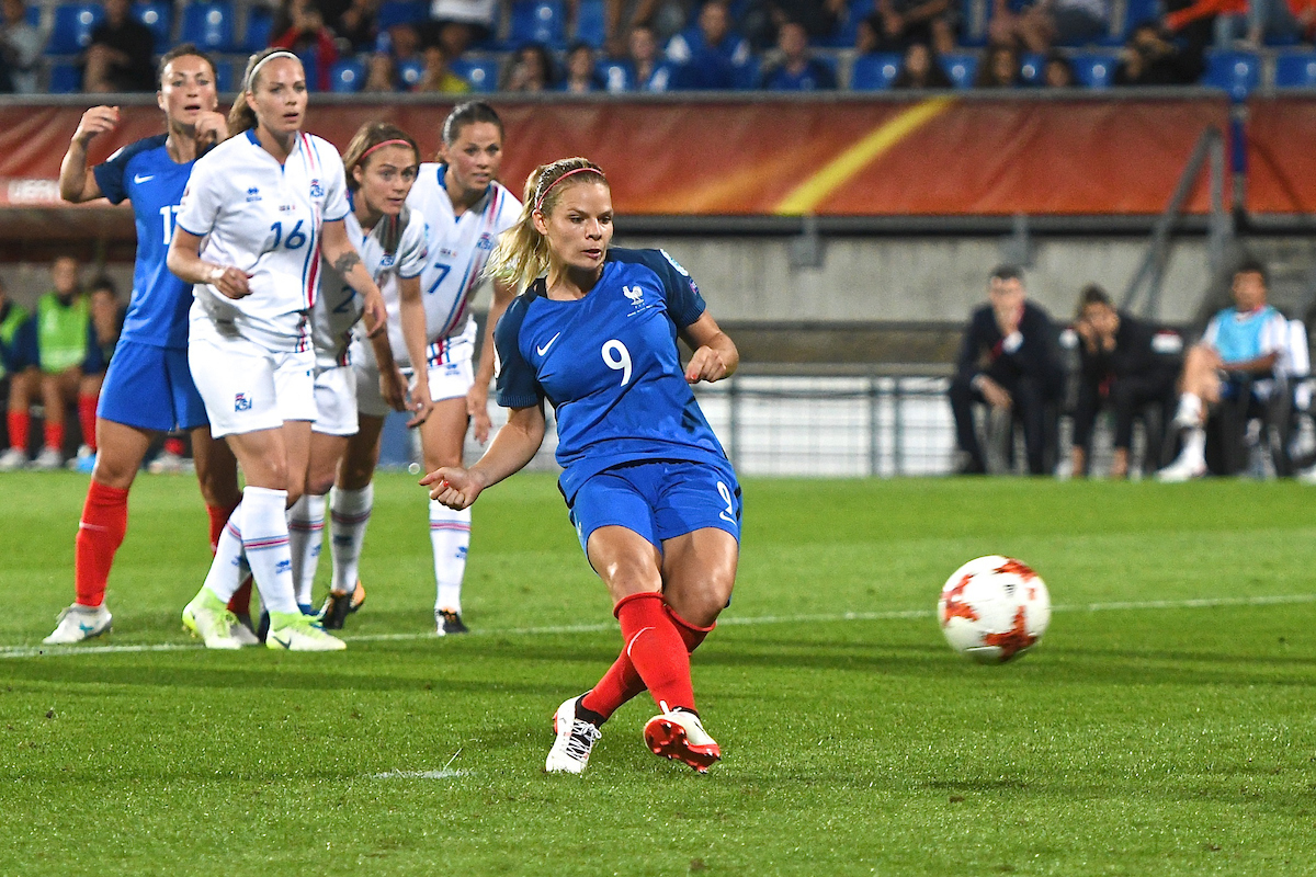 Eugénie Le Sommer of France scores from the penalty spot to make it France Iceland 0 during the UEFA Women's Euros 2017 match at Koning Willem II Stadion, Tilburg Picture by Kristian Kane/Focus Images Ltd +44 7814 482222 18/07/2017