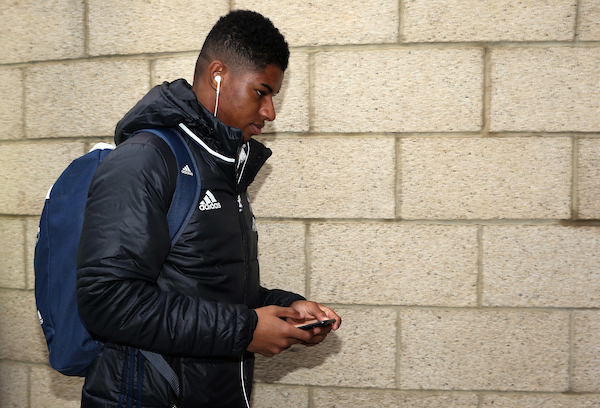 Marcus Rashford of Manchester United arrives prior to the Premier League match at the Riverside Stadium, Middlesbrough Picture by Christopher Booth/Focus Images Ltd 07711958291 19/03/2017