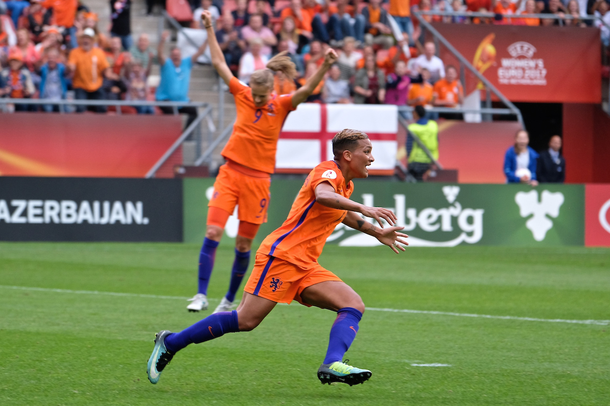 Shanice van de Sanden of Netherlands (centre) celebrates after scoring their first goal to make it Netherlands 1 Norway 0 during the UEFA Women's Euros match at Stadion Galgenwaard, Utrecht Picture by Kristian Kane/Focus Images Ltd +44 7814 482222 16/07/2017