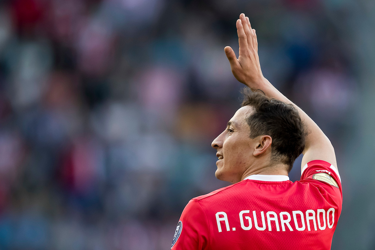 Andres Guardado of PSV Eindhoven has scored 4-0 during the Dutch Eredivisie match at Philips Stadion, Eindhoven Picture by Joep Joseph Leenen/Focus Images Ltd +316 5261929 09/04/2017 ***NETHERLANDS OUT***