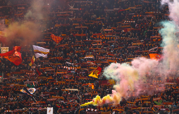 Fans of A.S. Roma set off flares before the UEFA Champions League match at the Stadio Olimpico, Rome Picture by John Rainford/Focus Images Ltd +44 7506 538356 10/12/2014