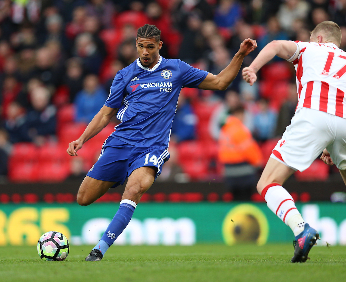 Ruben Loftus-Cheek (left) of Chelsea goes close with a shot during the Premier League match at the Bet 365 Stadium, Stoke-on-Trent Picture by James Wilson/Focus Images Ltd 07709 548263 18/03/2017