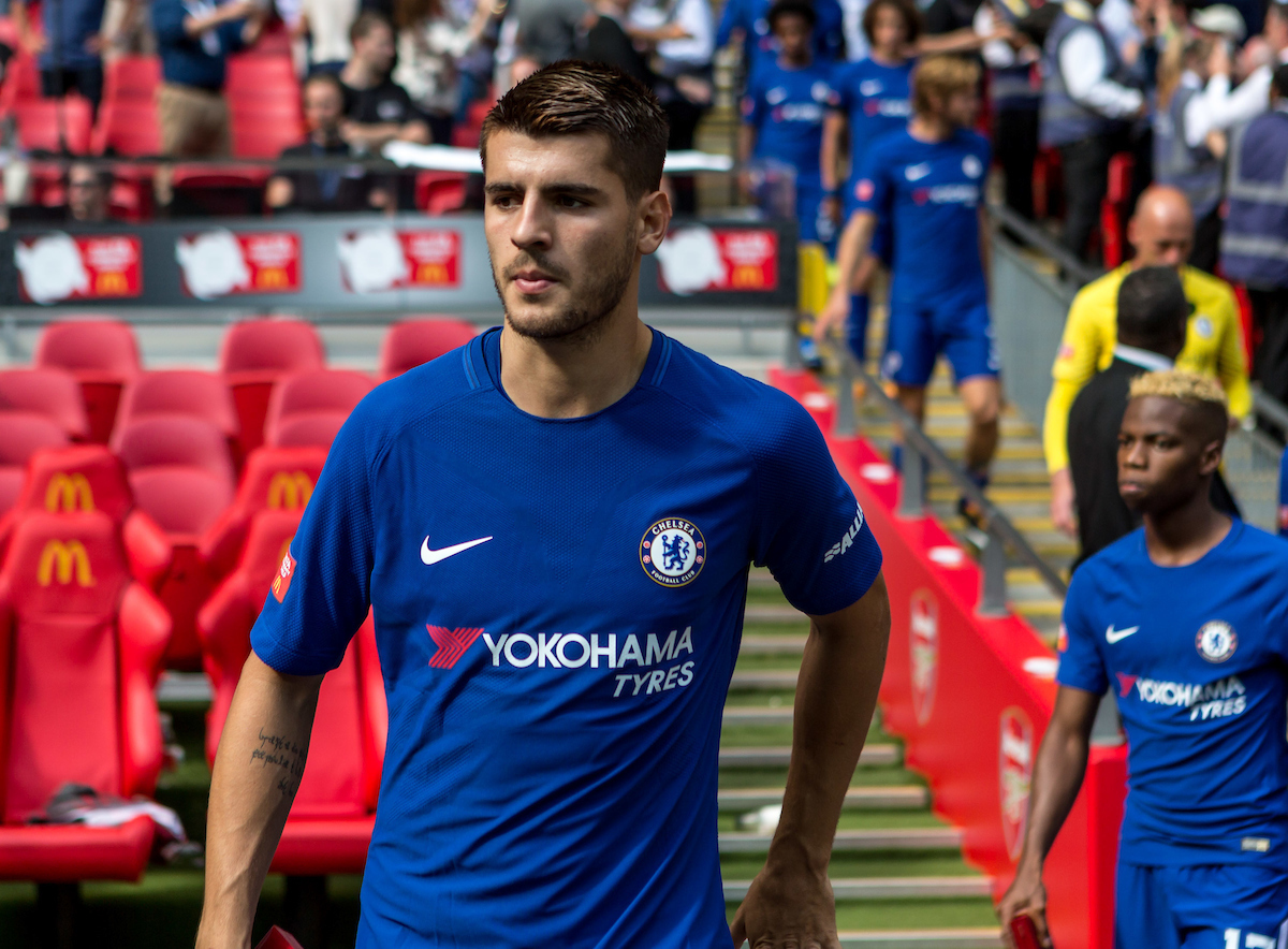 Alvaro Morata of Chelsea after collecting his runners up medal during the FA Community Shield match at Wembley Stadium, London Picture by Liam McAvoy/Focus Images Ltd 07413 543156 06/08/2017