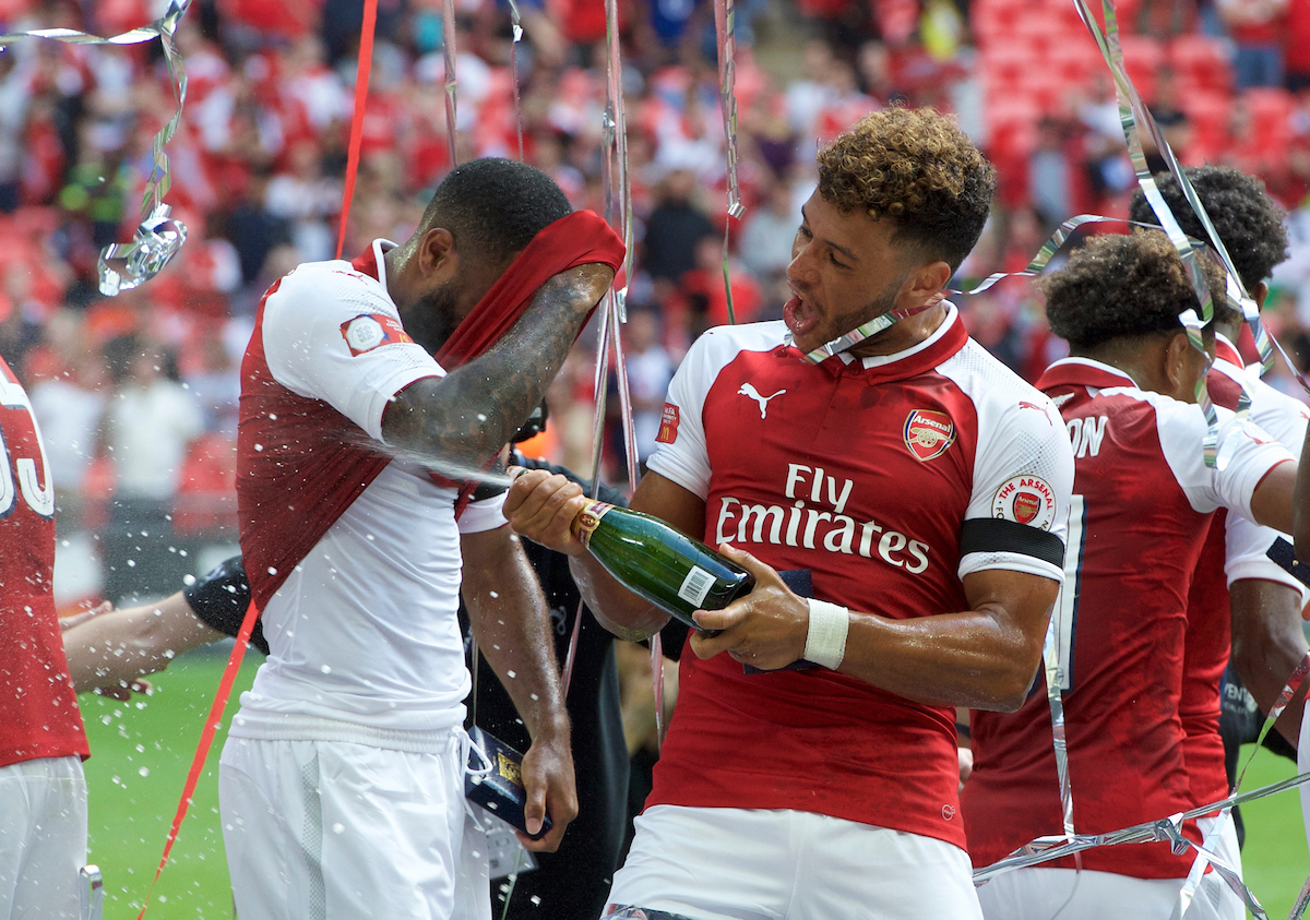 Alex Oxlade-chamberlain of Arsenal celebrates after defeating Chelsea during the FA Community Shield match at Wembley Stadium, London Picture by Alan Stanford/Focus Images Ltd +44 7915 056117 06/08/2017