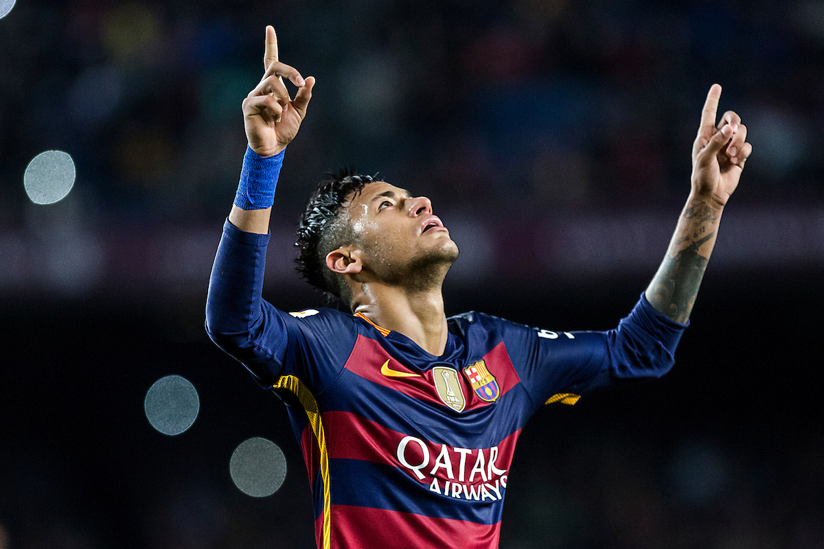 Neymar Jr. of FC Barcelona celebrates his goal during the La Liga match against Real Sporting de Gijón at Camp Nou, Barcelona Picture by Luis Tato/Focus Images Ltd (+34) 661 459 33 23/04/2016