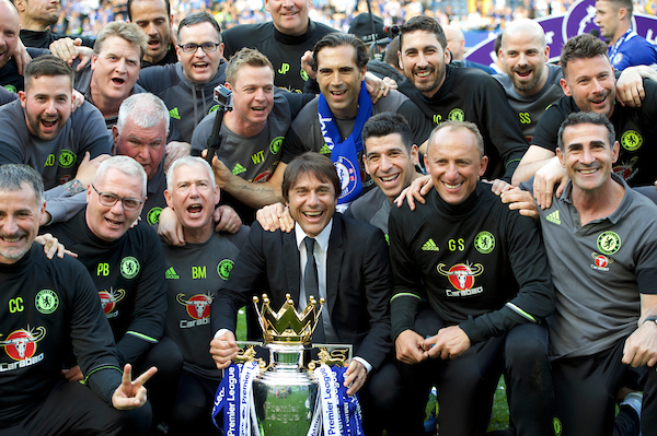 Manager Antonio Conte of Chelsea with the Premier League Trophy after the Premier League match at Stamford Bridge, London Picture by Alan Stanford/Focus Images Ltd +44 7915 056117 21/05/2017