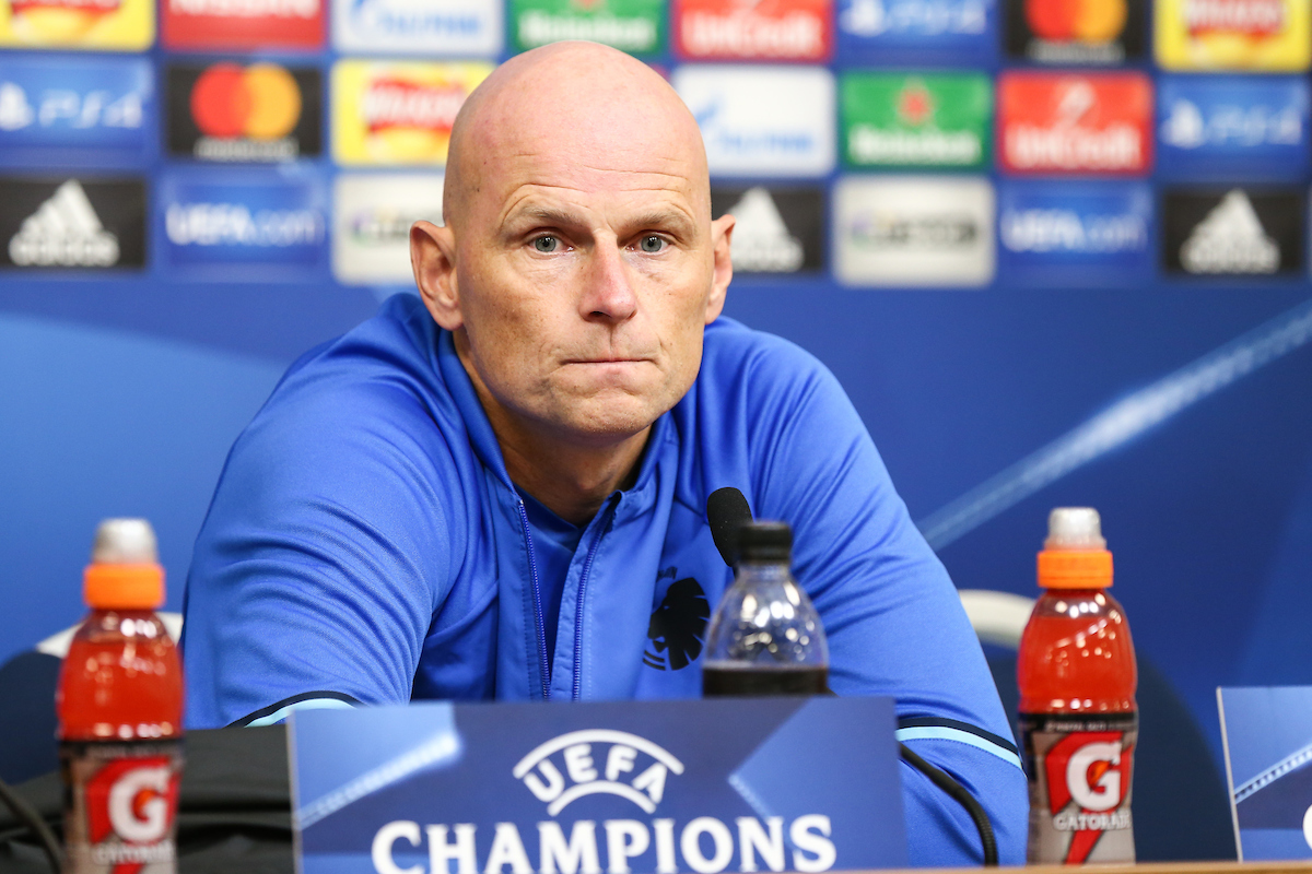 FC Copenhagen head coach Stale Solbakken during the Copenhagen press conference at the King Power Stadium, Leicester Picture by Andy Kearns/Focus Images Ltd 0781 864 4264 17/10/2016