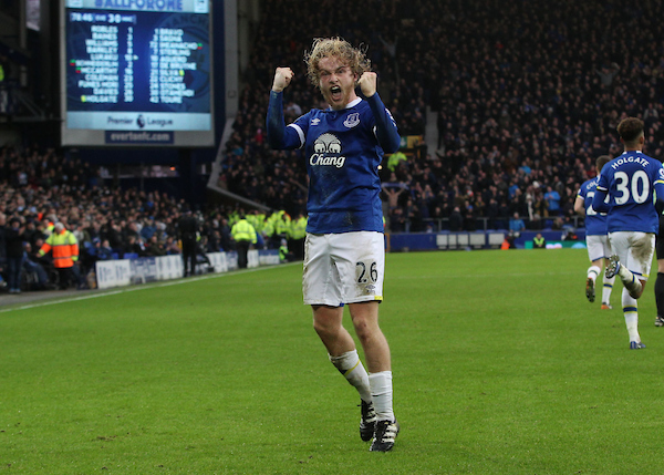 Tom Davies of Everton celebrates scoring the third goal against Manchester City during the Premier League match at Goodison Park, Liverpool. Picture by Michael Sedgwick/Focus Images Ltd +44 7900 363072 15/01/2017