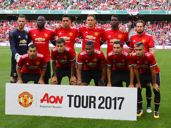 Manchester United team photo during the Pre-season Friendly match at the Aviva Stadium, Dublin Picture by Yannis Halas/Focus Images Ltd +353 8725 82019 02/08/2017