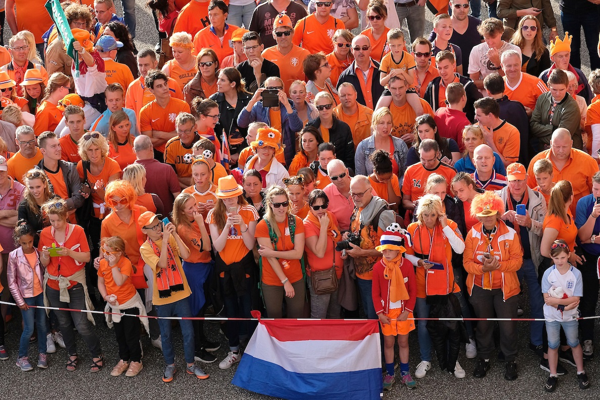 Netherlands fans with a sole young England fan (right) await the arrival of the team coaches pictured ahead of the UEFA Women's Euros 2017 Semi-final match at De Grolsch Veste, Enschede Picture by Kristian Kane/Focus Images Ltd +44 7814 482222 03/08/2017