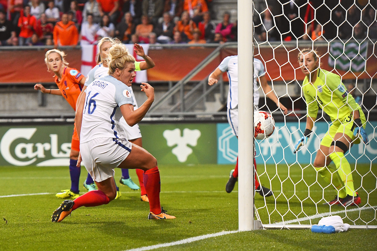 Millie Bright of England looks on as Vivianne Miedema of Netherlands (left) scores their first goal to make it Netherlands 1 England 0 during the UEFA Women's Euros 2017 Semi-final match at De Grolsch Veste, Enschede Picture by Kristian Kane/Focus Images Ltd +44 7814 482222 03/08/2017